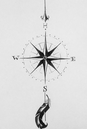 Compass & Feather Tattoo Drawing