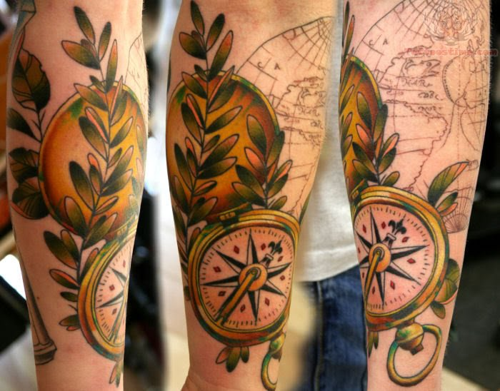 Compass & Globe Tattoo