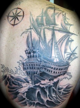 Compass & Pirate Ship Tattoo On Back Body