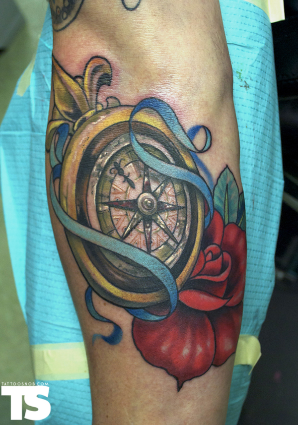 Compass & Rose Tattoo On Arm