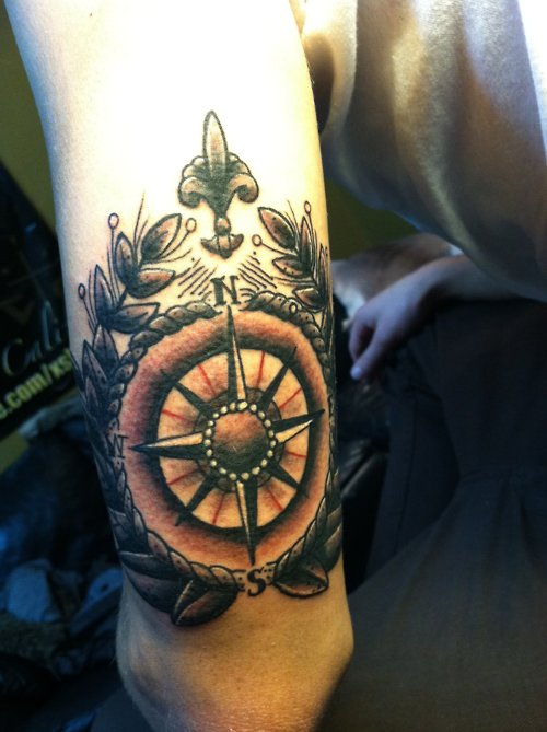 Compass Tattoo On Back Arm