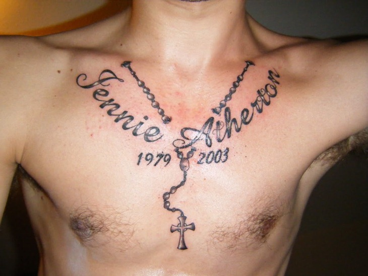 Cool Cross Tattoo On Chest For Men