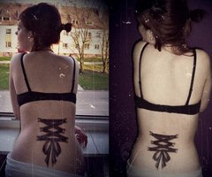 Corset Tattoo Designs For Lower Back