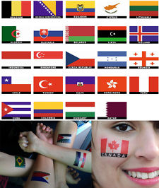 Country Flags Body Face Temporary Tattoo Designs