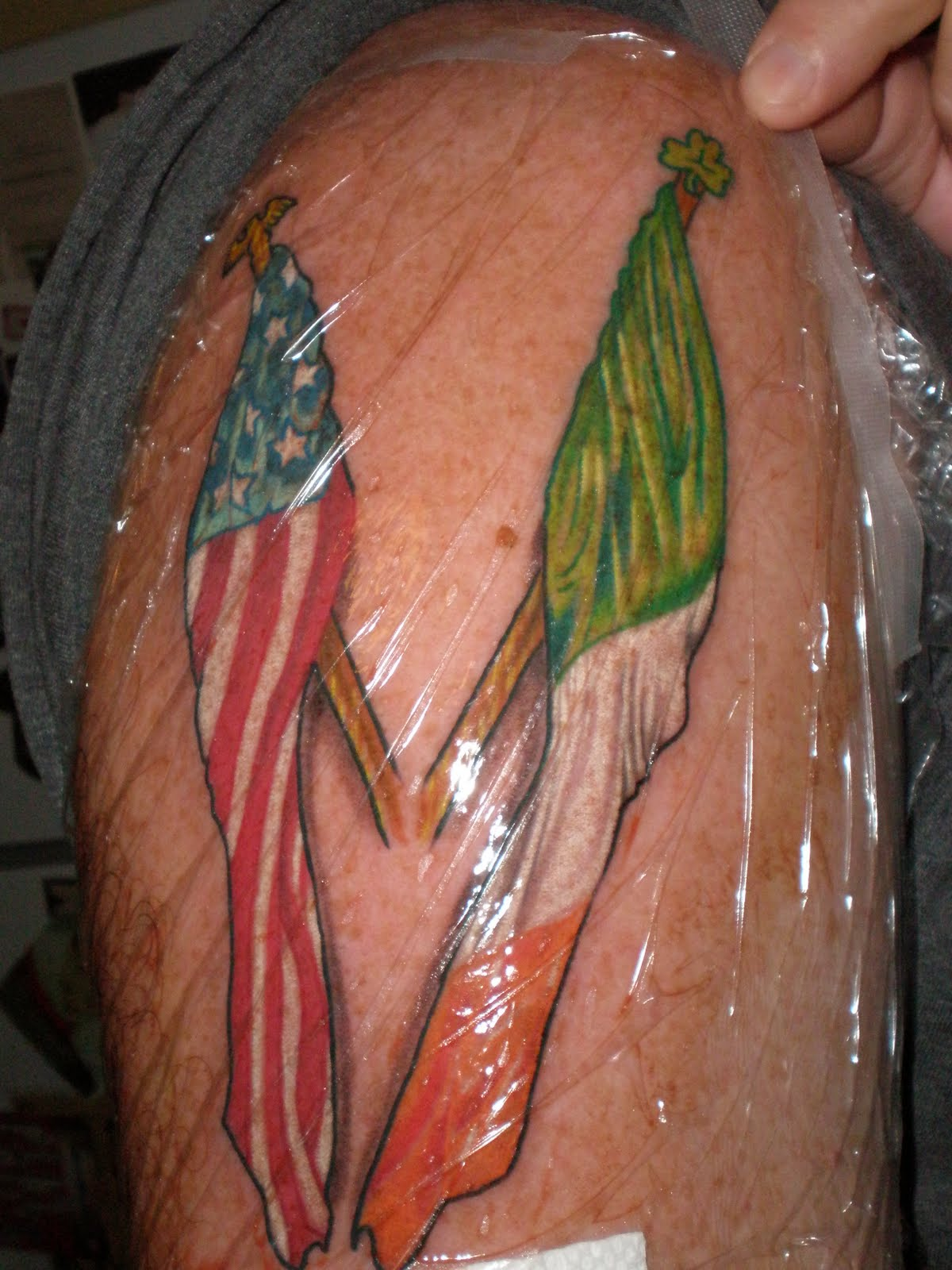 Country Flags Tattoo Design On Shoulder
