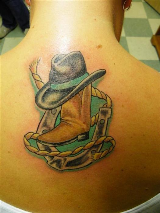 Country Girl Tattoo On Upper Back
