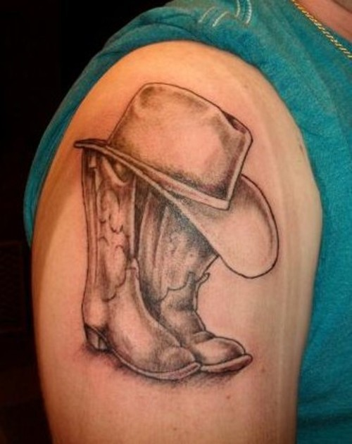 Cowboy Boots & Hat Tattoo On Shoulder