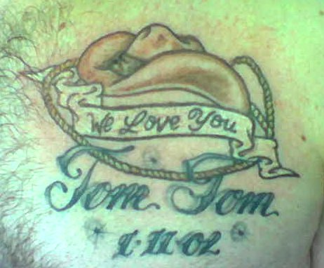 Cowboy Hat Tattoo On Chest