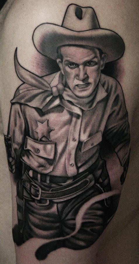Cowboy Portrait Tattoo Desig