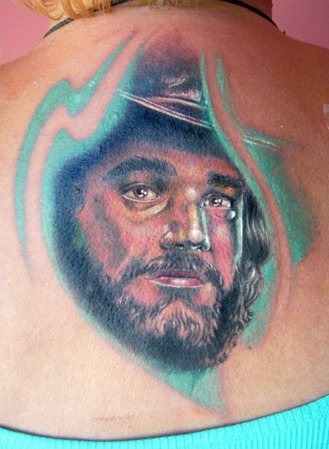 Cowboy Portrait Tattoo On Back