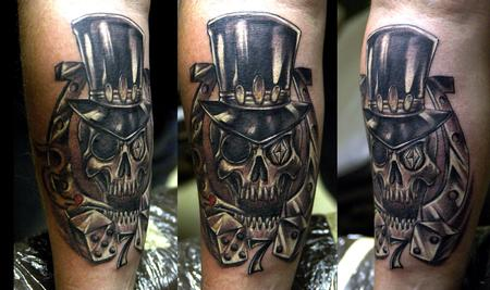 Cowboy Skull With Hat Tattoo Design