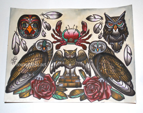 Crab Owl & Roses Tattoo Designs