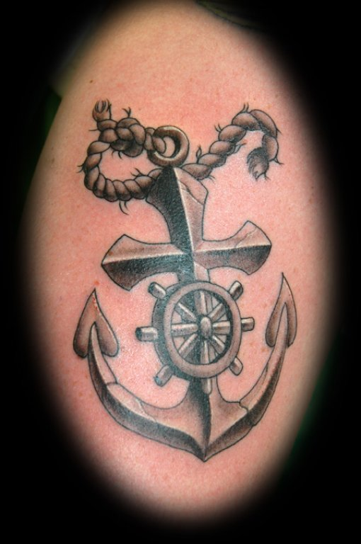 Cross Anchor Tattoo With Wheel & Rope