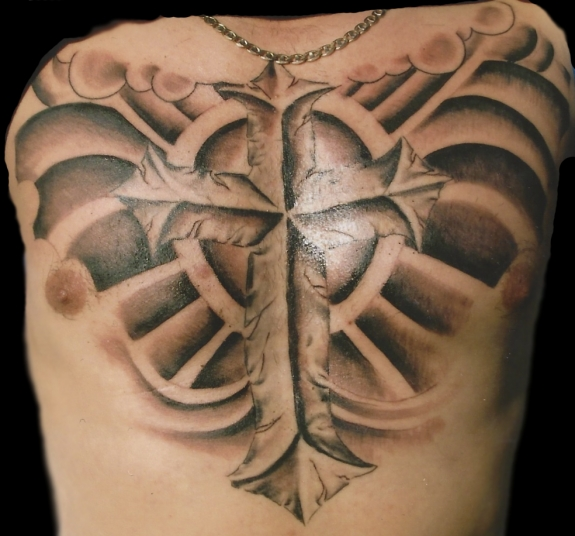 Cross & Wings Tattoo On Chest