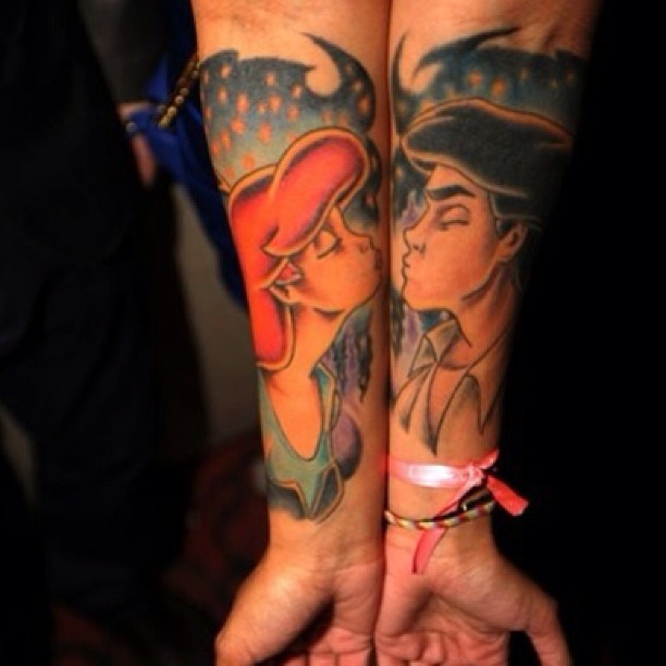 Cute  Disney Couple Tattoo Design On Arm