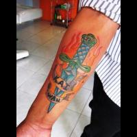 Dagger Color Tattoo On Forearm