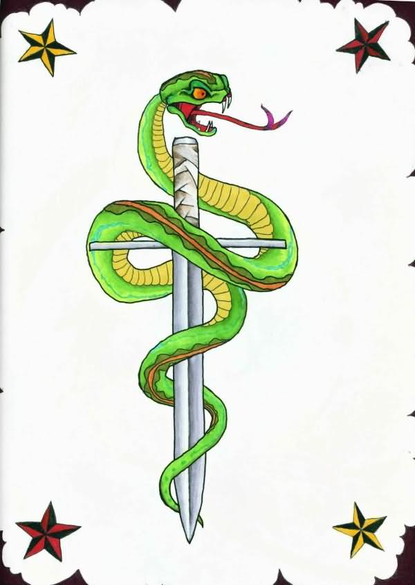 Dagger n Snake Tattoo Design