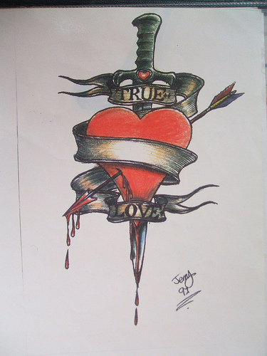 Dagger Through A Bleeding Heart Tattoo Design