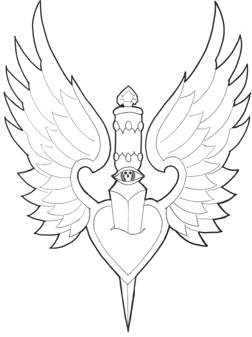 Dagger Thru Winged Heart Tattoo Sample