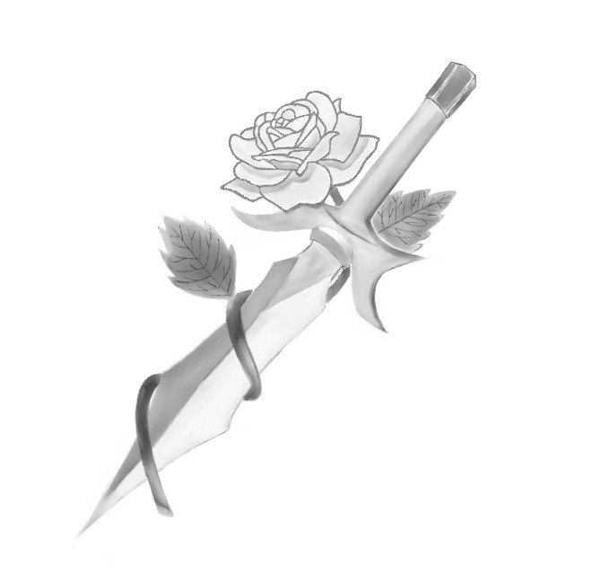 Dagger Wrapped In A Rose Tattoo Drawing