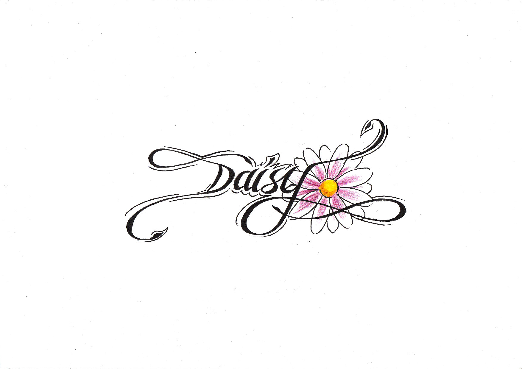 Daisy Flower Tattoo Sample