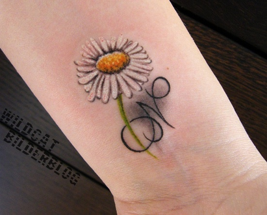 Daisy Flower With N Letter Tattoo Design