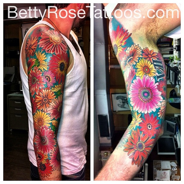Daisy Flowers Tattoo On Sleeve