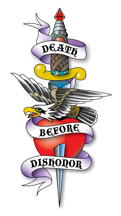 Death Before Dishonor Dagger Tattoo Design