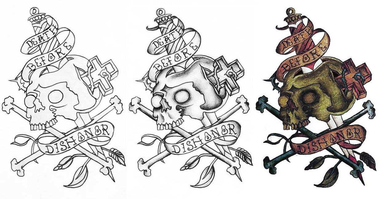 Death Before Dishonor Skull Dagger Tattoo Designs