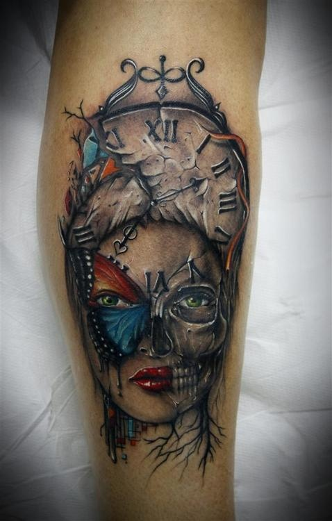 Death Face Clock Tattoo Design