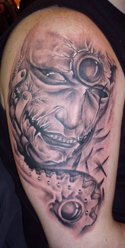 Death Head Tattoo Design On Half Sleeve