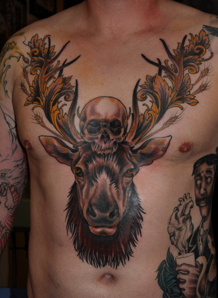 Death Skull n Deer Head Tattoo On Chest