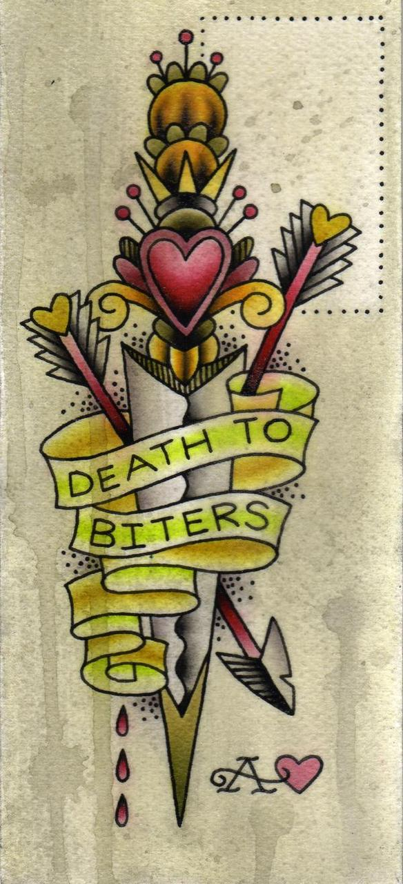 Death To Biters Dagger Tattoo Graphic