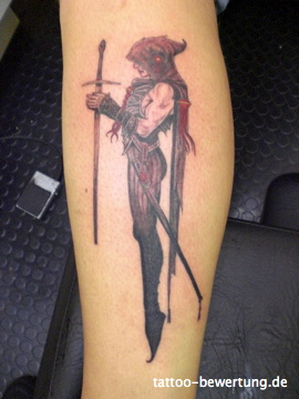 Death Woman Holding Sword Tattoo On Skin