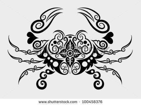 Decorative Crab Tattoo Design
