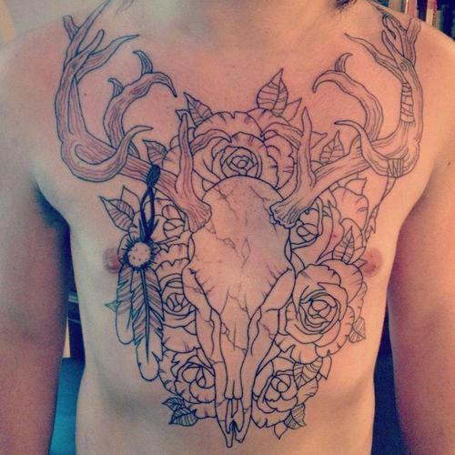 Deer Skull n Flowers Tattoo On Chest For Men