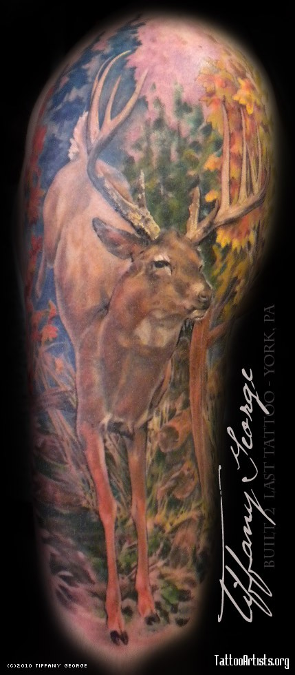 Deer Standing In Forest Tattoo Design