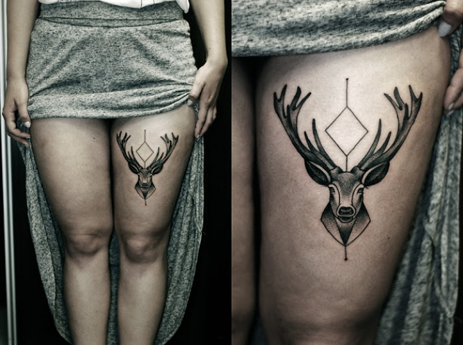 Deer Tattoo On Thigh For Girls