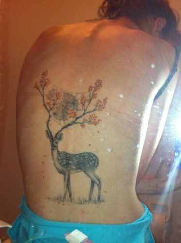 Deer With Flowers Antlers Tattoo On Back Body