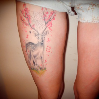Deer With Flowers Antlers Tattoo On Thigh