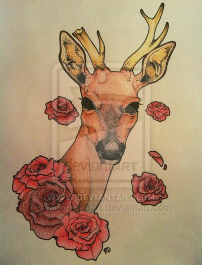 Deer With Roses Tattoo Design