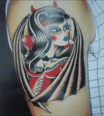 Devil Girl Tattoo On Upper Arm