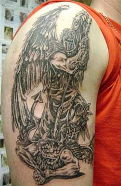 Devil Man Tattoo On Shoulder