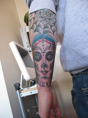 Dia De Los Muertos Face Tattoo On Wrist