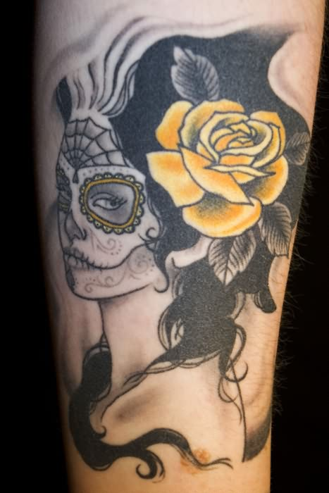Dia De Los Muertos Flower Girl Tattoo Design