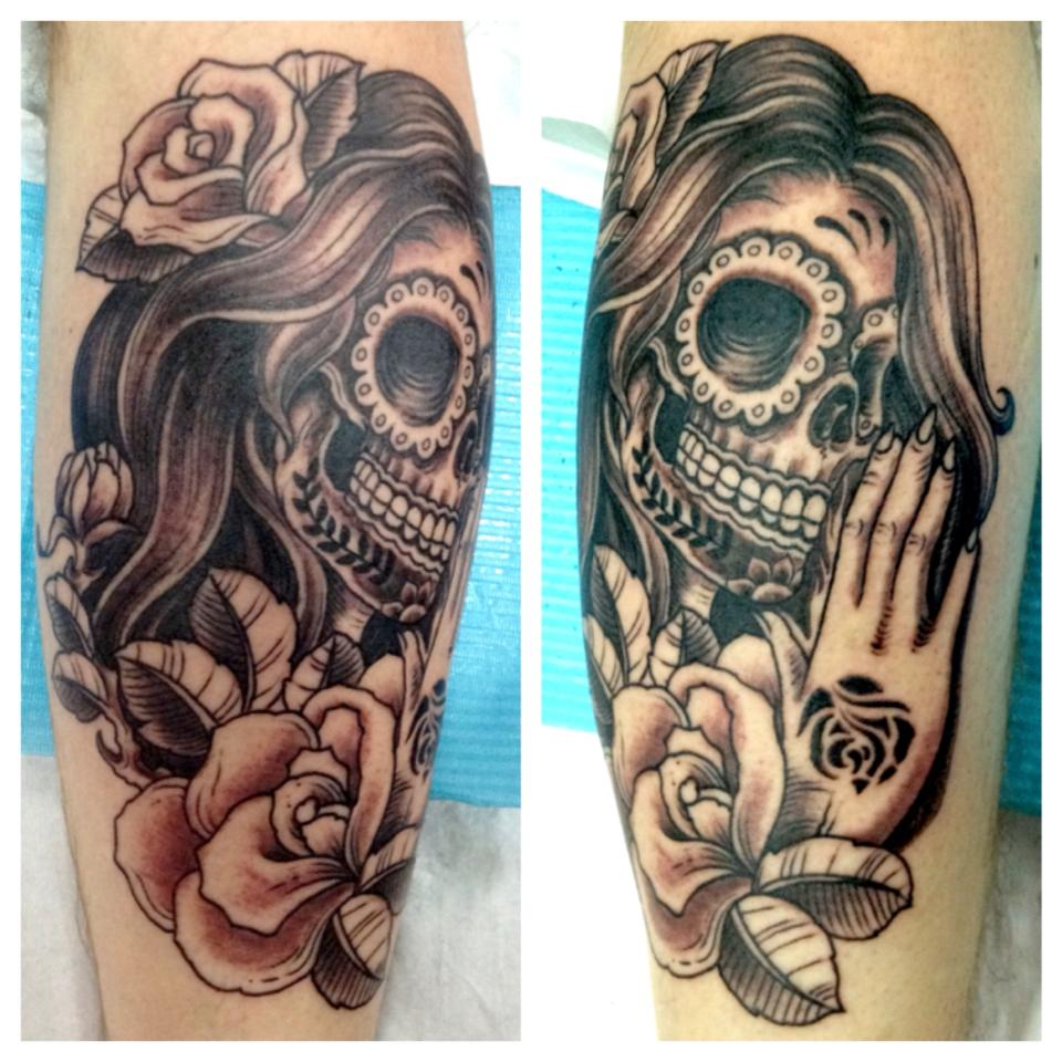 Dia De Los Muertos Lady Skull n Rose Tattoo Design