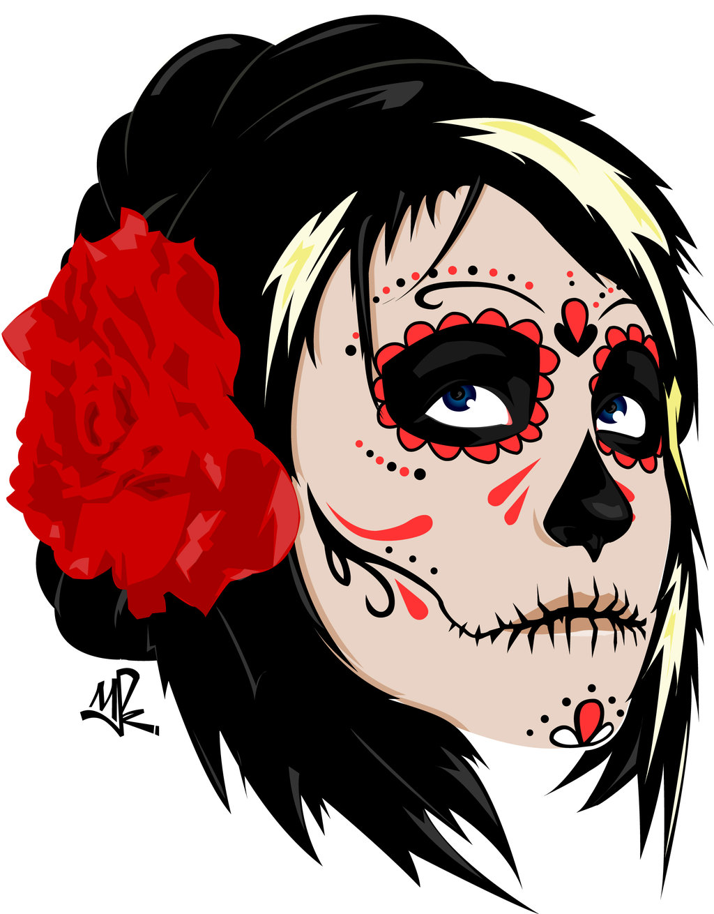 Dia De Los Muertos Lady Tattoo Sample