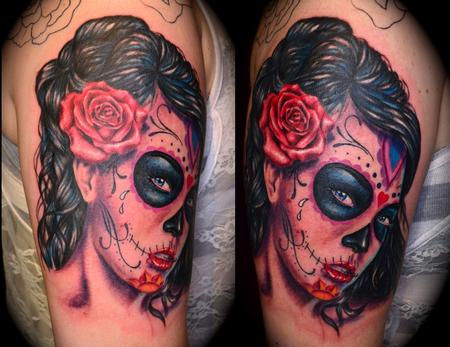 Dia De Los Muertos Portrait Tattoo On Shoulder