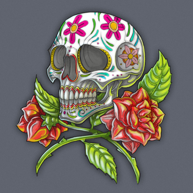 Dia de Los Muertos Skull With Roses Tattoo Design