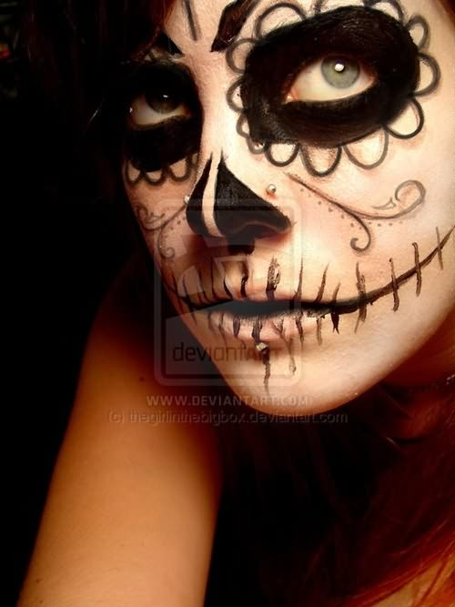 Dia De Los Muertos Tattoo On Girl Face